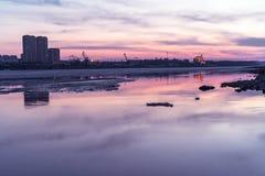 Fiume Amur al tramonto fotografia stock libera da diritti