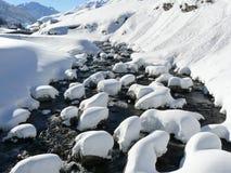 Fiume Andermat, Svizzera di Snowy fotografia stock libera da diritti