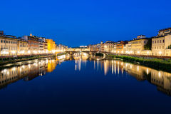 Fiume Arno river Florence Italy at night Stock Images
