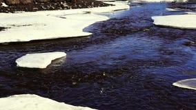 Fiume blu scuro in primavera stock footage