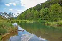 Fiume Brenz - valle Eselsburger Tal Fotografie Stock Libere da Diritti