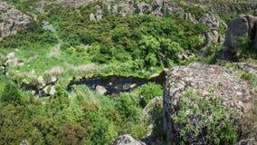 Fiume in canyon di Aktovsky, Ucraina Grandi rocce in piccolo fiume e Immagini Stock
