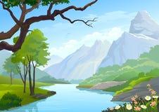 Fiume che attraversa le colline e montagna Immagini Stock Libere da Diritti