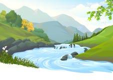 Fiume che scorre giù la corrente attraverso una bella foresta illustrazione di stock