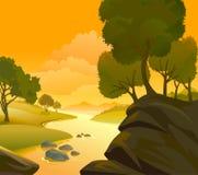 Fiume, colline e paesaggio delle rocce Fotografia Stock