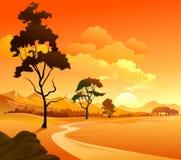 Fiume, colline e paesaggio delle rocce Immagine Stock Libera da Diritti