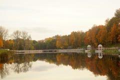 Fiume con Autumn Trees Fotografie Stock