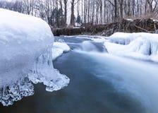 Fiume con ghiaccio Fotografia Stock