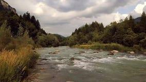 Fiume con i ciottoli nei flussi medi con una forte corrente in mezzo alle colline ed agli alberi video d archivio