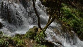 Fiume con Overfall sulla montagna di Zlatibor stock footage