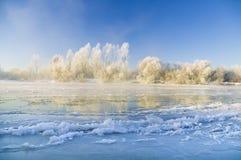 Fiume congelato Fotografie Stock