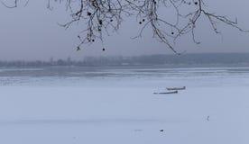 Fiume congelato Danubio in ghiaccio e due pescherecci Fotografia Stock Libera da Diritti