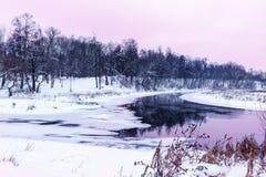 Fiume congelato di inverno Immagini Stock Libere da Diritti