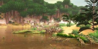 Fiume cretaceo del dinosauro Fotografie Stock Libere da Diritti