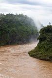 Fiume dal veiw delle cascate di Iguazu dall'argentina Immagine Stock