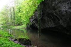 Fiume dalla caverna Immagini Stock