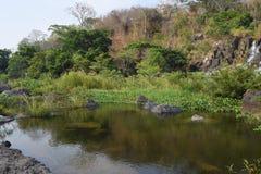 Fiume del Da Nhim nel Vietnam con il fiume vicino alla montagna e la foresta tropicale nel periodo di siccità con roccia sul lett Immagini Stock