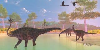 Fiume del dinosauro di Spinophorosaurus Fotografia Stock Libera da Diritti