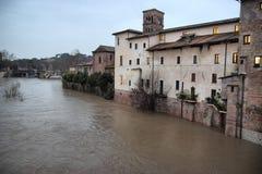 Fiume del Tevere dell'inondazione Fotografia Stock Libera da Diritti