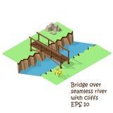 Fiume dell'incrocio del ponte di legno Fotografia Stock Libera da Diritti