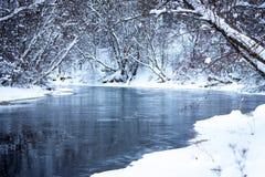 Fiume della foresta di inverno sotto la neve Immagine Stock