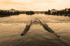 Fiume della Moldava di panorama - Praga Fotografia Stock Libera da Diritti