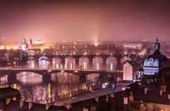 Fiume della Moldava e di Praga dalla collina di Letna Fotografie Stock