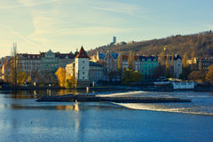 Fiume della Moldava a Praga Fotografia Stock
