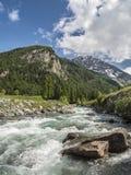 Fiume della montagna con acqua del ghiacciaio Fotografia Stock Libera da Diritti