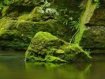 Fiume della montagna con a basso livello di acqua Immagine Stock Libera da Diritti