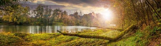 Fiume della montagna con l'albero caduto sulla riva al tramonto Immagini Stock Libere da Diritti