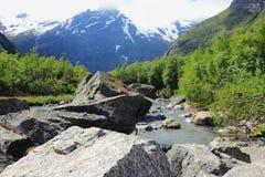 Fiume della montagna da Briksdalsbreen, Norvegia Fotografia Stock Libera da Diritti