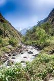 Fiume della montagna nel Nepal Himalaya Fotografia Stock Libera da Diritti