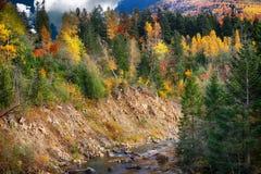 Fiume della montagna nel tempo di autunno fotografia stock libera da diritti