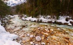 Fiume della montagna nell'orario invernale Fotografie Stock