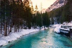 Fiume della montagna nell'orario invernale Fotografia Stock Libera da Diritti