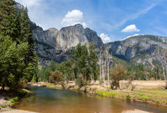 Fiume della valle di Yosemite Fotografia Stock
