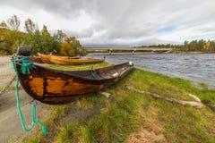 Fiume di Alta con le barche di fiume del catrame Fotografia Stock Libera da Diritti
