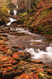 Fiume di autunno con le foglie Fotografie Stock