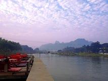 Fiume di canzone in Vang Vieng Fotografia Stock Libera da Diritti