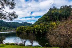 Fiume di Ceira, Penacova, Portogallo Fotografie Stock