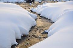 fiume di congelamento nella montagna di inverno Fotografie Stock Libere da Diritti