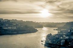 Fiume di Douro a Oporto, Portogallo Fotografia Stock