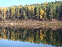 Fiume di Ilim in Siberia orientale, Russia, paesaggio di autunno Immagine Stock