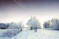 Fiume di inverno alla notte Fotografie Stock Libere da Diritti