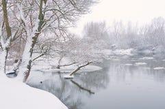 Fiume di inverno, quando sta nevicando immagini stock