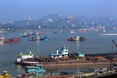 Fiume di Irrawaddy e città di Sagaing - Myanmar Fotografia Stock Libera da Diritti