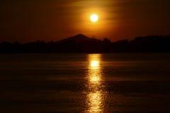 Fiume di Khong sul tramonto Fotografia Stock