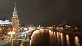 Fiume di Mosca alla notte fotografia stock libera da diritti