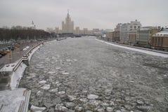 Fiume di Mosca nell'inverno Fotografia Stock